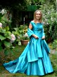 Turquoise bridal dress with bateau neckline